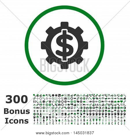 Financial Options rounded icon with 300 bonus icons. Vector illustration style is flat iconic bicolor symbols, green and gray colors, white background.