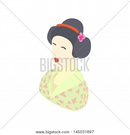 Japanese girl icon in cartoon style isolated on white background. People symbol