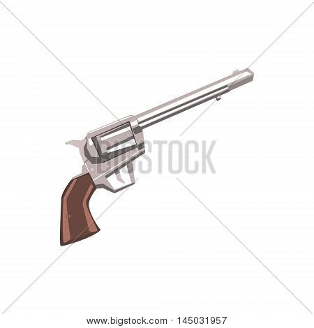 Pistol Handgun Drawing Isolated On White Background. Cool Colorful Wild West Themed Vector Illustration In Stylized Geometric Cartoon Design