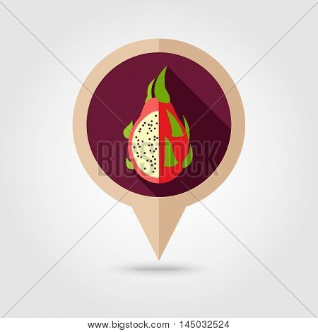 Pitaya flat vector pin map icon. Map pointer. Map markers. Tropical dragon fruit. Vector illustration eps 10