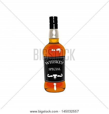 Whiskey Bottle Drawing Isolated On White Background. Cool Colorful Wild West Themed Vector Illustration In Stylized Geometric Cartoon Design