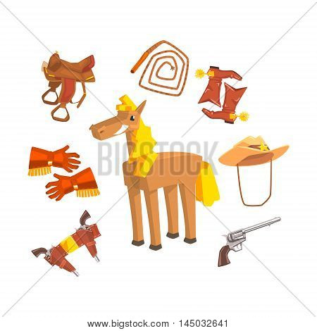 Horse Surrounded With Cowboy Disguise Related Objects Drawing On White Background. Cool Colorful Wild West Themed Vector Illustration In Stylized Geometric Cartoon Design