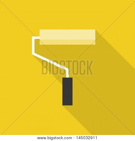Yellow paint roller icon with long shadow, flat design