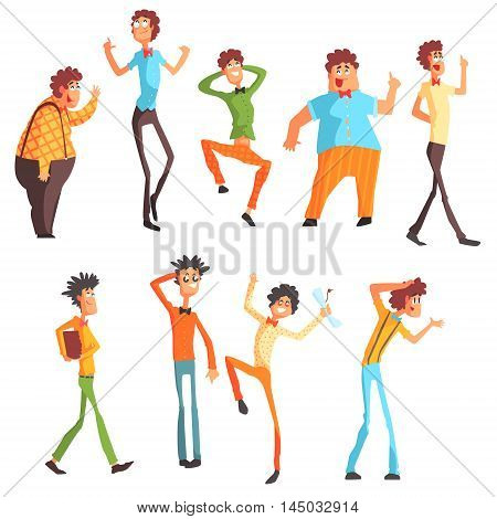 Flamboyant Know-it-all Character Set Of Graphic Design Cool Geometric Style Isolated Drawings On White Background
