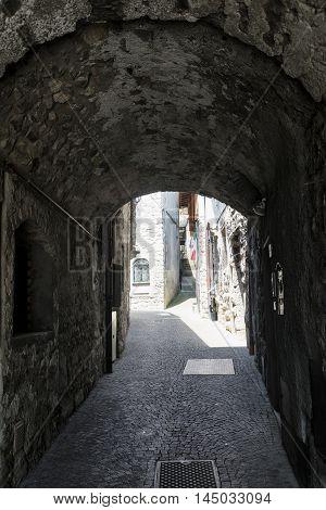 Riva di Solto (Bergamo Lombardy Italy) historic village along the lake of Iseo