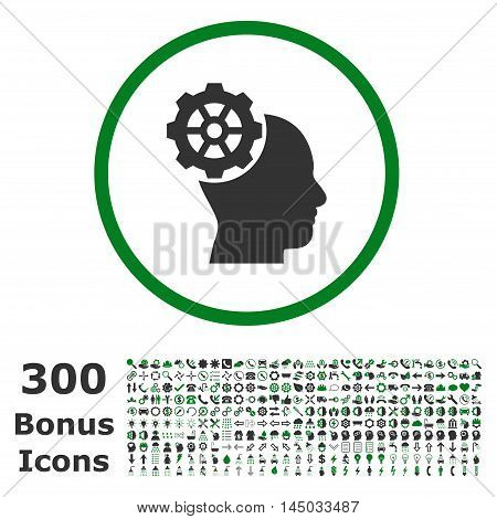 Head Gear rounded icon with 300 bonus icons. Vector illustration style is flat iconic bicolor symbols, green and gray colors, white background.