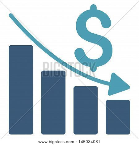 Sales Crisis Chart icon. Vector style is bicolor flat iconic symbol with rounded angles, cyan and blue colors, white background.