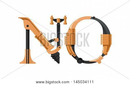 Steampunk letter made of different technical pieces: pipes blocks screws etc. Letter N and O.