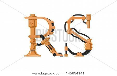 Steampunk letter made of different technical pieces: pipes blocks screws etc. Letter R and S.