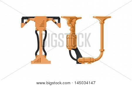 Steampunk letter made of different technical pieces: pipes blocks screws etc. Letter T and U.