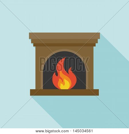 Fire and Fireplace icon with long shadow, flat design