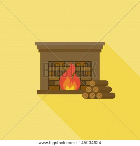 Fire and Fireplace icon with long shadow with firewood, flat design