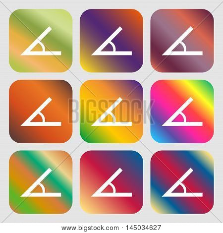 Angle 45 Degrees Icon Sign . Nine Buttons With Bright Gradients For Beautiful Design. Vector