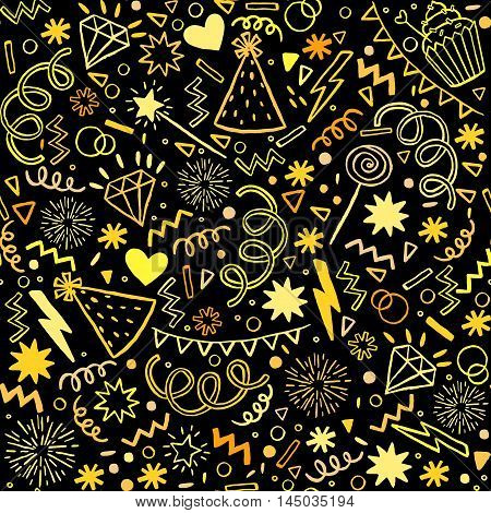 Party seamless pattern. Vector illustration design on black background. For invitation, card, wrapping paper