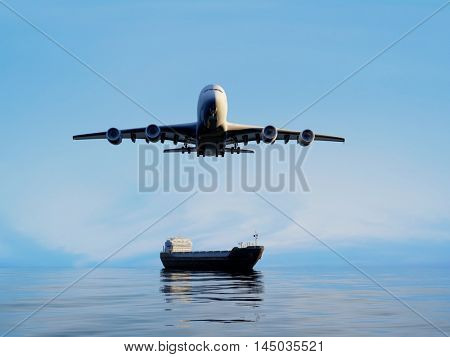 Airplane and tanker at sea. ,3d render