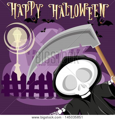 Halloween Background. Funny Little Death With A Large Scythe On The Street Of The Town. Cartoon Styl