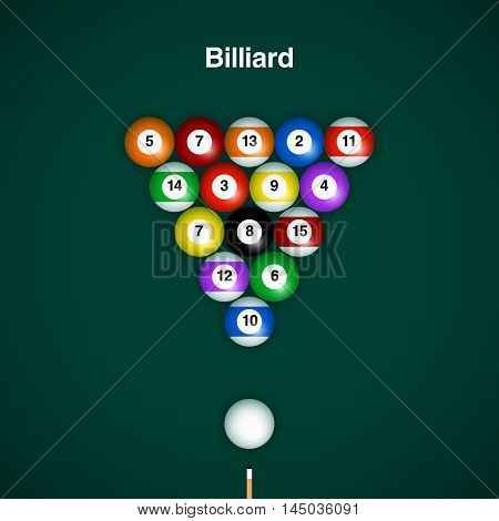 Placed billiard balls on table with cue on green table background.
