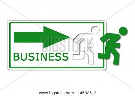 A funny icon, like the exit sign, of a green man that gets out and run away to a fabulous business occasion!