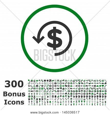 Refund rounded icon with 300 bonus icons. Vector illustration style is flat iconic bicolor symbols, green and gray colors, white background.