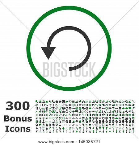 Rotate Ccw rounded icon with 300 bonus icons. Vector illustration style is flat iconic bicolor symbols, green and gray colors, white background.