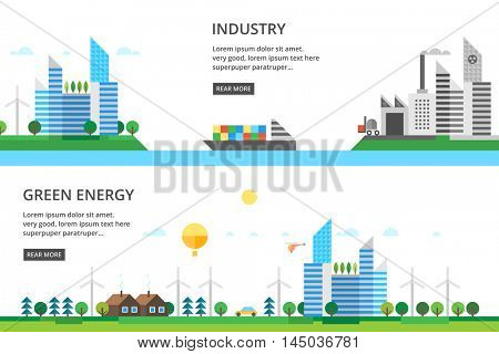 A set of two illustrations - production, modern city life in the countryside.