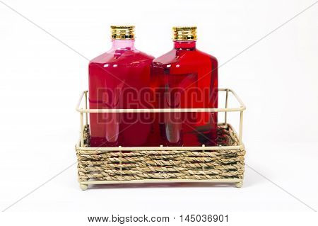 Shampoo liquid soap in a bottle of red color