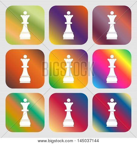 Chess Queen Sign Icon . Nine Buttons With Bright Gradients For Beautiful Design. Vector