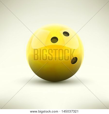 Yellow bowling ball isolated realictic vector illustration