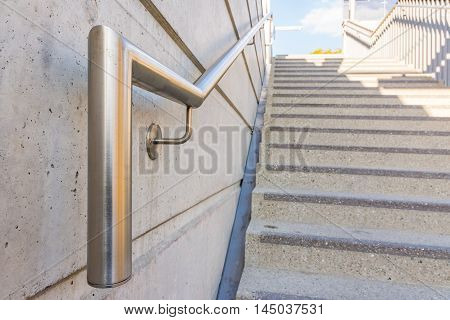 Metal Chrome Steel Handrail Public Staircase Safety Steps