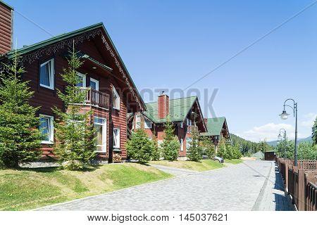 Bukovel ski resort in summer. Ukrainian Carpathians.