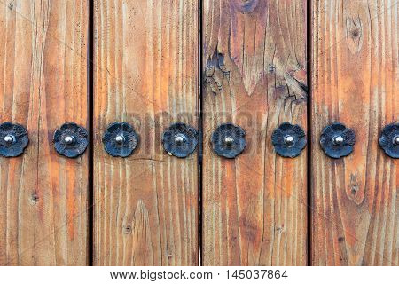 Wooden Fence Metal Flower Stud Screws Architectural Detail