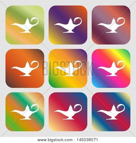 Alladin Lamp Genie Sign Icon . Nine Buttons With Bright Gradients For Beautiful Design. Vector