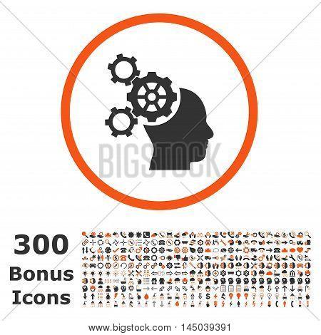 Brain Mechanics rounded icon with 300 bonus icons. Vector illustration style is flat iconic bicolor symbols, orange and gray colors, white background.