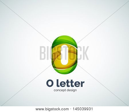 Vector letter O business logo, modern abstract geometric elegant design. Created with waves