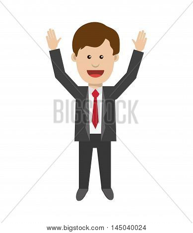 businessman necktie man male cartoon suit business icon. Flat and isolated design. Vector illustration