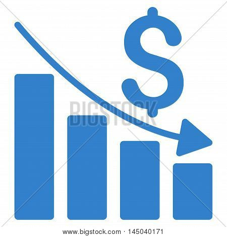 Sales Crisis Chart icon. Vector style is flat iconic symbol with rounded angles, cobalt color, white background.