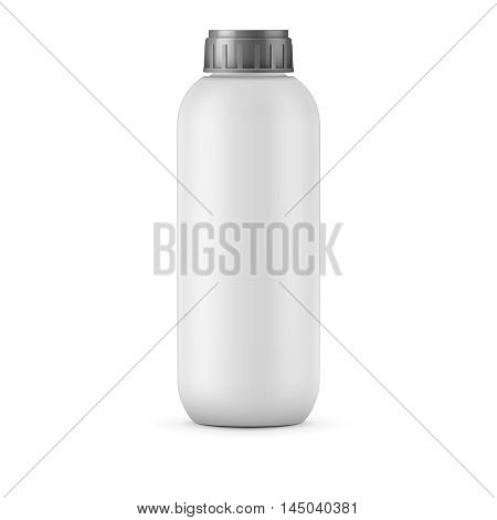 Big white plastic bottle template for shampoo, balm, shower gel, lotion, body milk, bath foam. Isolated on white background. Ready for your design. Realistic vector illustration.