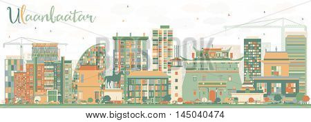 Abstract Ulaanbaatar Skyline with Color Buildings. Vector Illustration. Business Travel and Tourism Concept with Historic Buildings. Image for Presentation Banner Placard and Web Site.
