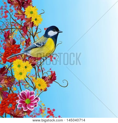 Autumn background. Little Bird tit sitting on a branch blooming chrysanthemums. Red crimson yellow bright autumn leaves.