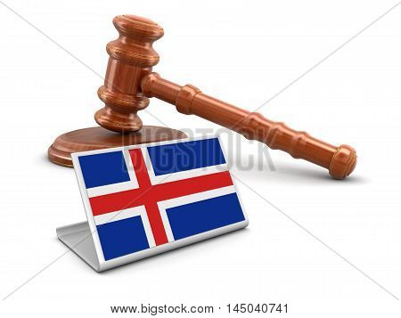 3D Illustration. 3d wooden mallet and Icelandic flag. Image with clipping path