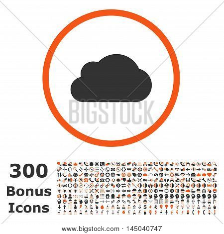 Cloud rounded icon with 300 bonus icons. Vector illustration style is flat iconic bicolor symbols, orange and gray colors, white background.
