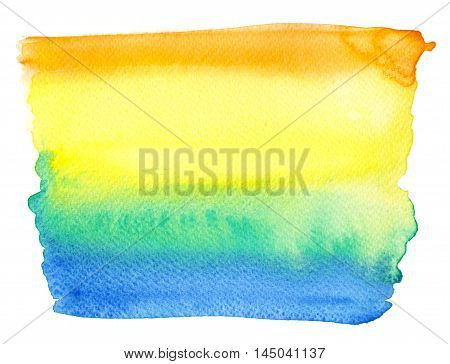 Raster aquarelle spot with mixed yellow orange green and blue colors. Background and design element special for sport theme.