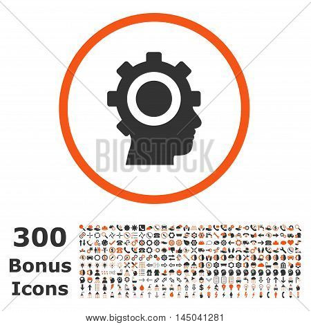 Cyborg Gear rounded icon with 300 bonus icons. Vector illustration style is flat iconic bicolor symbols, orange and gray colors, white background.