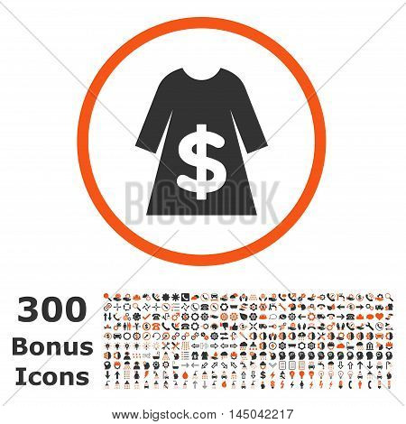 Dress Sale rounded icon with 300 bonus icons. Vector illustration style is flat iconic bicolor symbols, orange and gray colors, white background.
