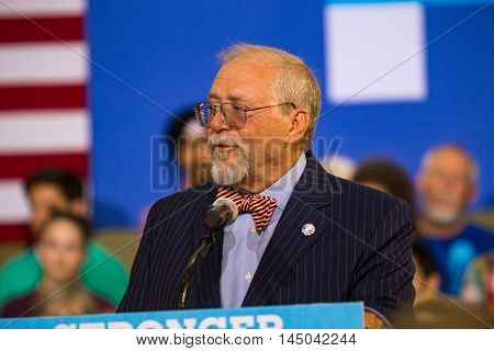 Lancaster PA - August 30 2016: Mayor Rick Gray speaks at a campaign rally for Virginia Senator Tim Kaine Democrat Vice President Candidate.