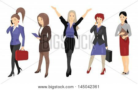 Set of full length portraits of business people isolated on white background. Vector illustration for formal design. Group of cute women girl. Success collection. Businesswoman. Boss teacher student