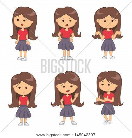 Set of full length portraits of cute girl isolated on white background. Vector illustration for emotion design. Group of pretty women. Expression female mood collection. Cartoon comic young teen kids
