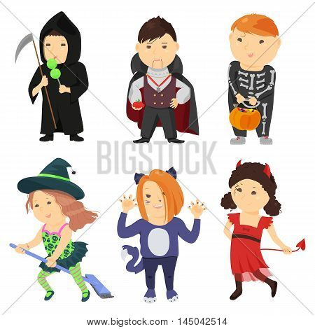 Cute cartoon kids in halloween costumes isolated on white background. Vector illustration for holiday design. Funny girl boy child. Character october party. Witch vampire skeleton cat devil death icon