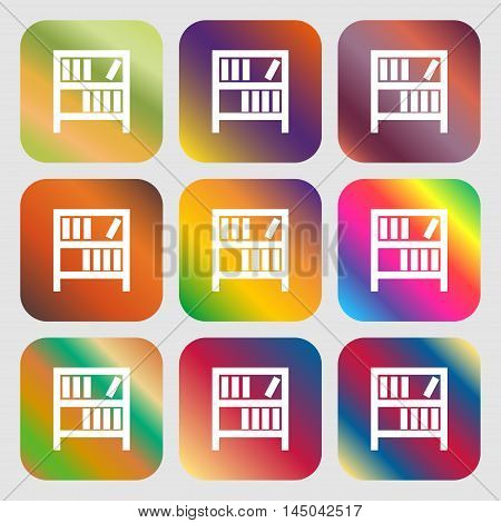 Bookshelf Icon Sign . Nine Buttons With Bright Gradients For Beautiful Design. Vector