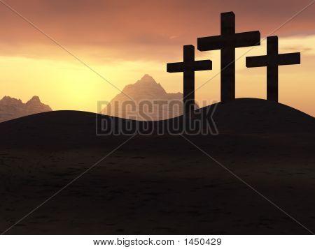 Drei Kreuze gelb Sonnenuntergang